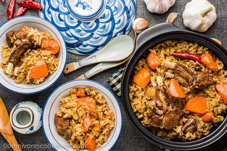 Uyghur Lamb Pilaf (Source, Omnivore's Cookbook) - Pilaf: A Taste of Xinjiang