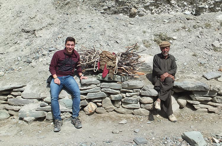 Nils Haveresch with a local in the Northern Areas of Pakistan - Restoring Linguistic Heritage of Pakistan