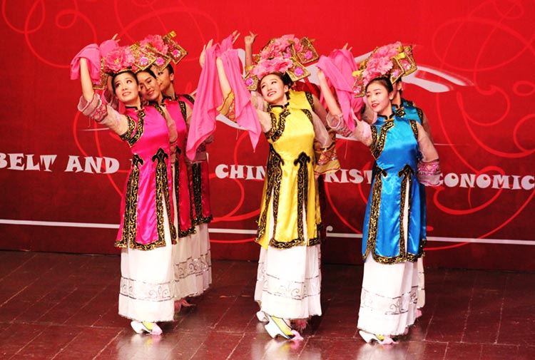 Chinese dancers perform a Man ethnic dance