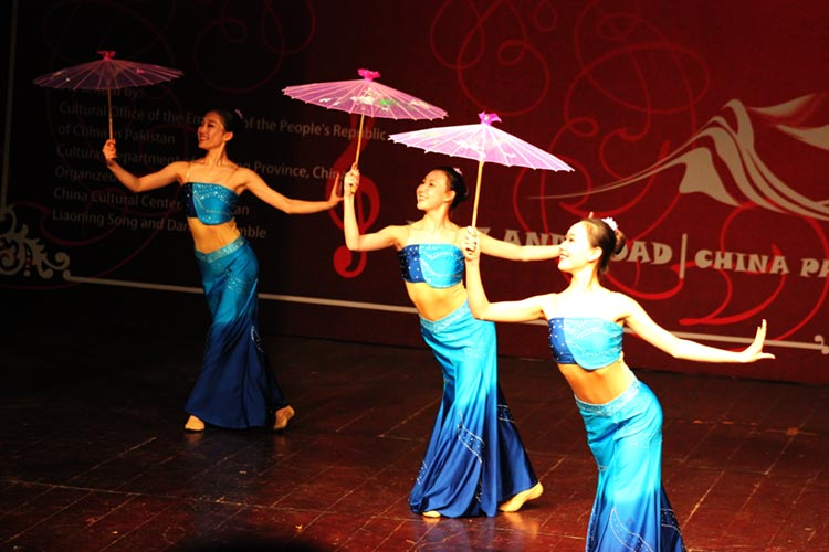 Chinese dancers perform the dance, 'Wandering in the Forest'