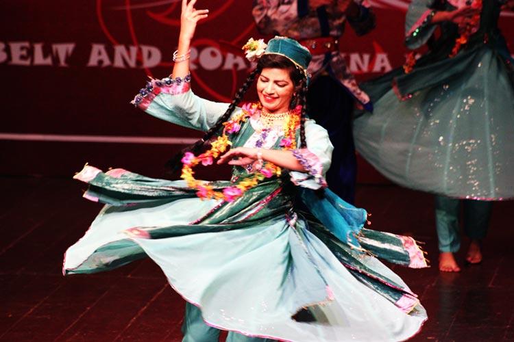 A dancer performs the Balti dance, 'Mendoq Tangmo'