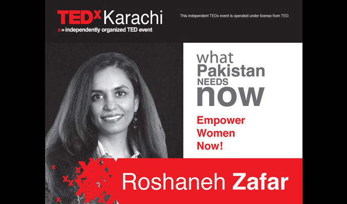 Roshaneh Zafar was one of the speakers on TEDx Karachi in June 2010 - Roshaneh Zafar and Kashf Foundation