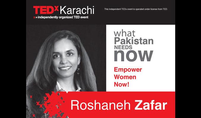 Roshaneh Zafar was one of the speakers on TEDx Karachi in June 2010 - Roshaneh Zafar and Kashf Foundation