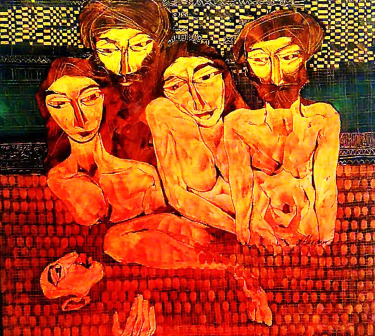 A figurative painting from the latest works by Akram Dost Baloch - Satrang Art Gallery Exhibition: Artist Akram Dost