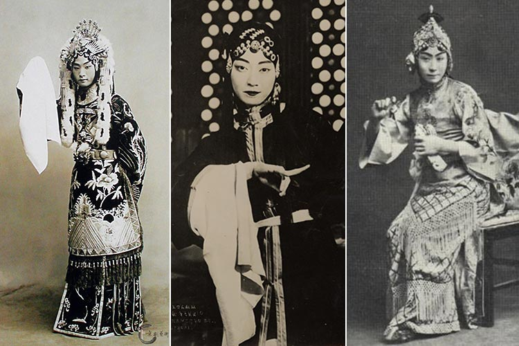 Three of Peking Opera's 'Four Great Dan' - Cheng Yanqiu, Mei Lanfang and Xun Huisheng