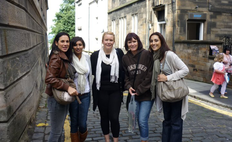 Shaida (right) with staff on a team building exercise in Edinburgh, UK - Shaida Rahim Head of Job Resourcers Islamabad