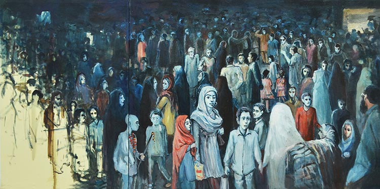 Railway Station by Zahid Mayo - Socio-Domestic Art Exhibition at O Art Space Lahore