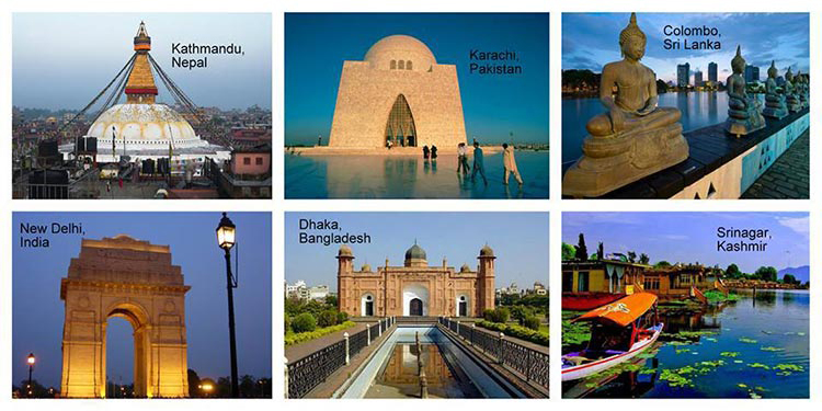 The six cities where the Forum is being held - South Asian Literary Forum 2017 Karachi Edition