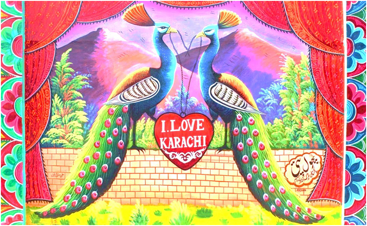 Colorful painted truck art motifs on a street wall on M.T Road, Karachi - Street Art in Lahore and Karachi