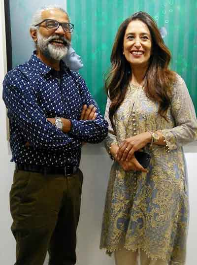 Renowned artist R.M. Naeem with Noshi Qadir, the owner and curator of Tanzara Gallery - Tanzara Gallery Celebrates 10-Year Anniversary