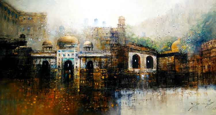 An abstract cityscape painting by A.Q. Arif - Tanzara Gallery Celebrates 10-Year Anniversary