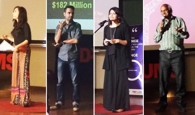 (l-r) Sarah Khan, Ali Rez, Fatima Lodhi and Iqbal Qaiser - TEDx LUMS 2015