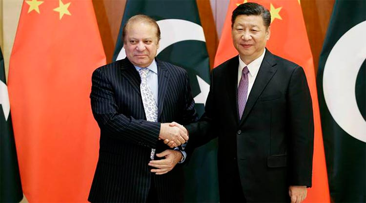 Prime Minister Nawaz Sharif with Chinese President Xi Jinping (source: Indian Express) - The Belt and Road Summit 2017 in Beijing