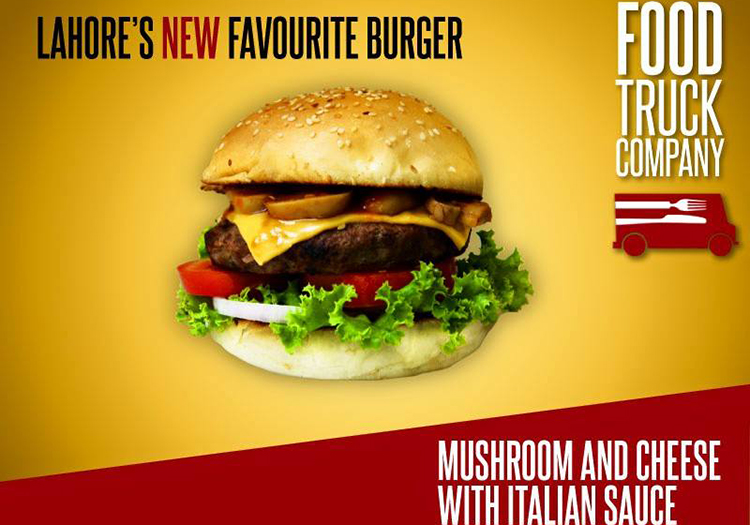 FTC's signature burger - Mushroom and Cheese with Italian Sauce - The Food Truck Company, Phase 5 Lahore