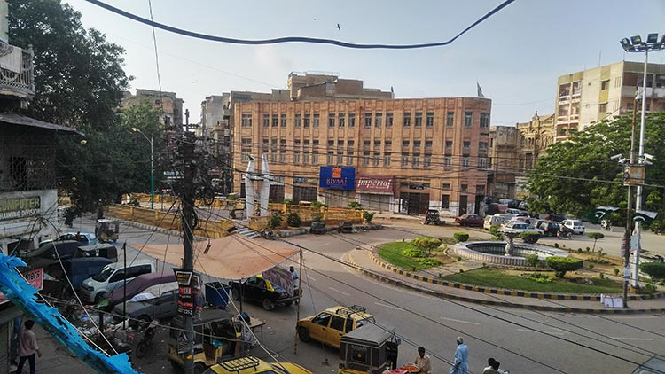 View of Kutchery Road and the revamped Pakistan Chowk, from the windows of Pakistan Chowk Community Centre - The Pakistan Chowk, Karachi