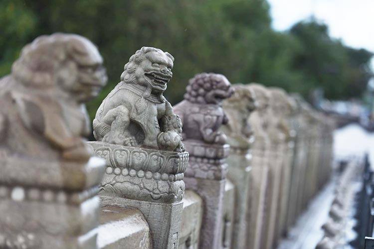 Lugou Bridge Lions (Source, CGTN) - The Stone Lions of Lugou Bridge: When were they carved?