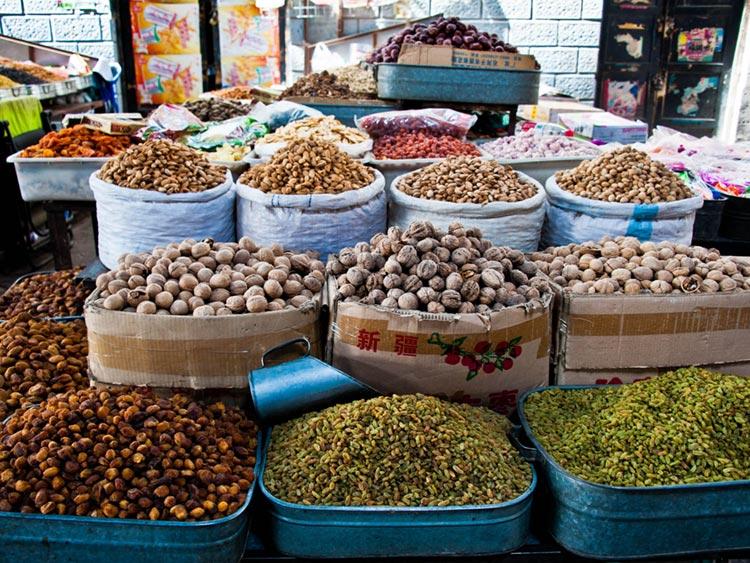 Dried fruit bazaar Kashgar