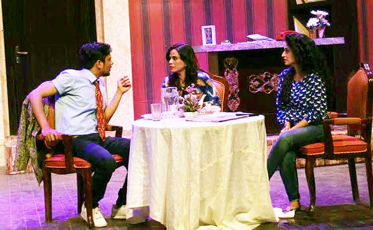 Ahmed (Hammad Khan), Mrs. FB (Muzaina Malik) and Teena (Hajra Yamin) as seen in the play - Theatre 'Bye Mishtake' Review