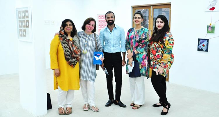 (L-R) Artists Roohi Ahmed, Samina Islam, Affan Baghpati and Rabia S. Akhtar - Who Killed Shumaila? Investigating Crime through Art at Sanat Initiative
