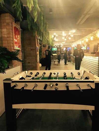 The foosball table at Wild Wings Restaurant, Islamabad