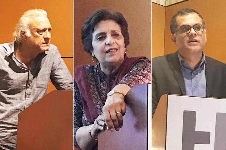 (L-R) Sarmad Sehbai, Tahira Naqvi and Raza Rumi - Writing Partition in Urdu, NYU Urdu Conference 2017