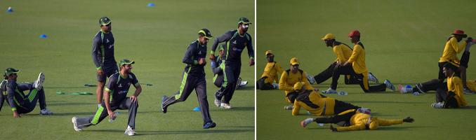 Pakistan (left) and Zimbabwe (right) warm up at the Gaddafi Stadium, Lahore - Zimbabwe Cricket Team's Visit to Pakistan, May 2015