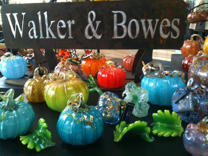 Exotic Blown Glass Pumpkins at Stanford Shopping Mall, Bay Area. California