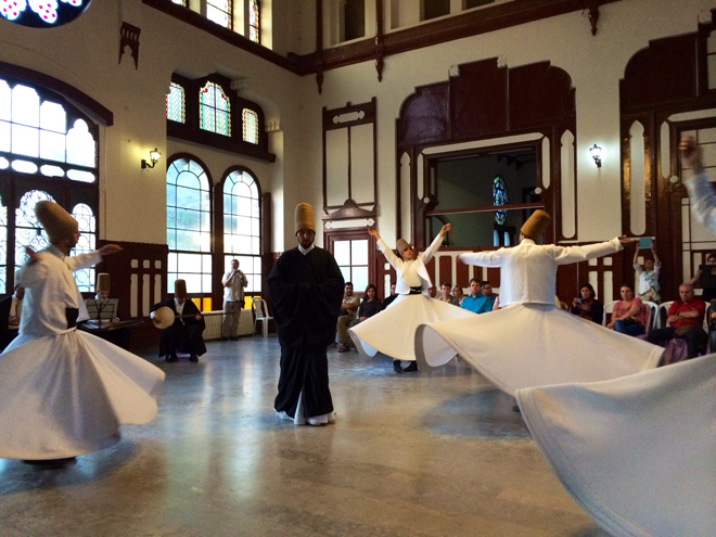 Whirling Dervishes (Semazen) at the Sirkeci Station's grand hall