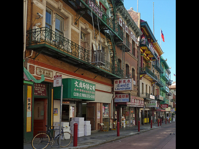 Shops and homes in China Town