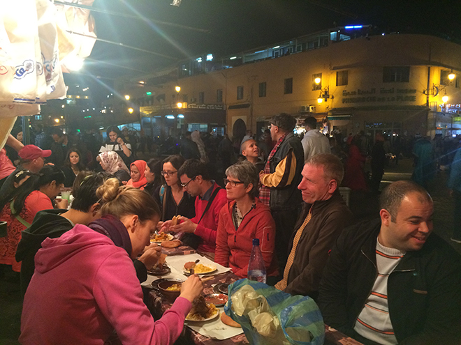 The Jemaa el Fna Square transforms into a pop-up food market at night