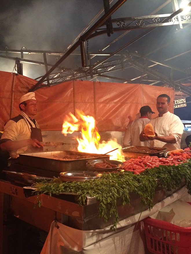 Freshly prepared food at Jemaa el Fna