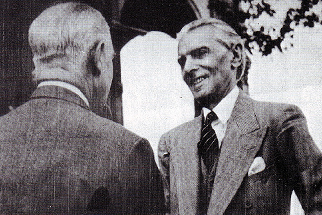 Quaid meeting Viceroy Lord Wavell