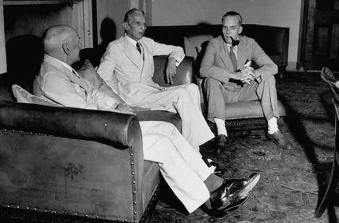 Quaid with Sir Stafford Cripps and Lord Pethwick Lawrence