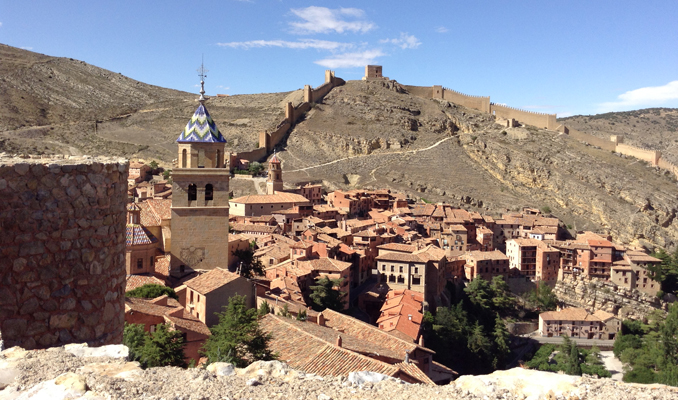 Castle walls in the background of Albarracin