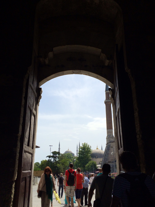 Domes of Ayasofya and Blue Mosque in view from Imperial Gate